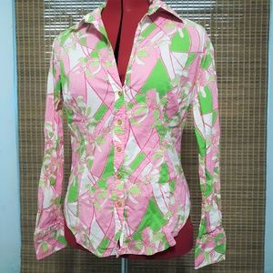 Lilly Pulitzer Pink Green Floral l/s shirt sz 6